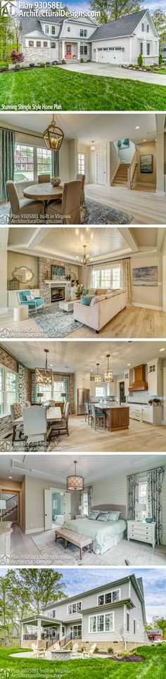 Architectural Designs House Plan 93058EL client-built in Virginia by our friends at TimberCreek Building and Design! Beautiful interior