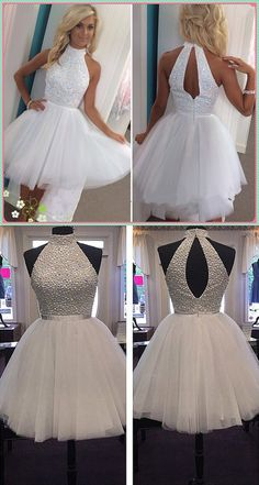Sexy short tulle prom dress, a-line ball gown with high neckline, white, homecoming with open back, dress with beads - Best Outfits Ideas 2019 White Homecoming Dresses, Hoco Dresses, Tulle Prom Dress, Trendy Dresses, Simple Dresses, Cute Dresses, Summer Dresses, Dresses 2016, Elegant Dresses
