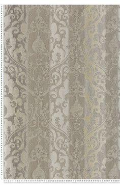 Baroque et Rayures Taupe et Sable - papier peint Tiffanie