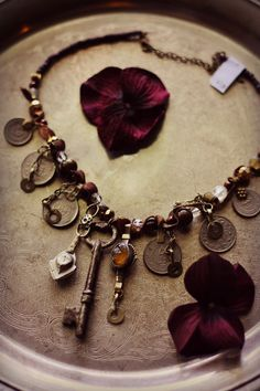 Tribal Assemblage Necklace Harvest Gold Key by theverdantmuse, $75.00