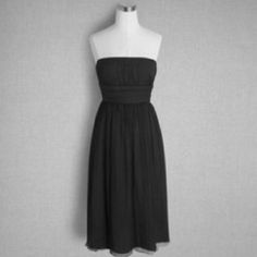 J. Crew dress Emily silk chiffon dress in black. Lightweight crinkled silk strapless dress with empire waist. Fully lined. Fitted bodice with back zip, inset waistband and full skirt. Size 4. New with tags. J. Crew Dresses Strapless