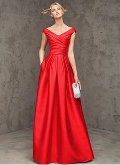 A-Line/Princess V-neck Floor-Length Satin Evening Dress With Ruffle