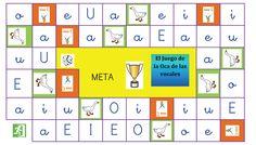 Poster con el juego de la oca de las vocales para educación infantil