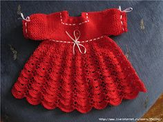 Red Baby Dress free crochet graph pattern