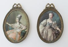 French Vintage Set Of 2 Small Framed Cloth by LAtelierDeNanaH