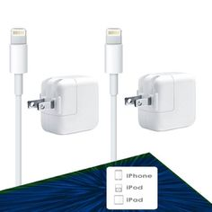 6ft USB Charge Cable with 12W Wall Charger for iPhone 6s Plus / 6 Plus / 6s / 6 - iPad Charger [Set of 2]