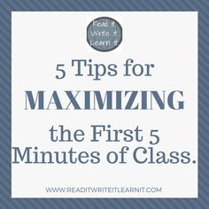 Go from chaos to meaningful learning with these five fresh ideas for implementing bellringers and entry tasks to maximize the first minutes of every class. From www.readitwriteitlearnit.com