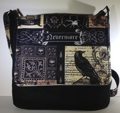 Nevermore Edgar Allan Poe crossbody purse raven cross body bag gothic skulls messenger bag spider and fly sling bag goth gift for her (42.00 USD) by PenguinPouches