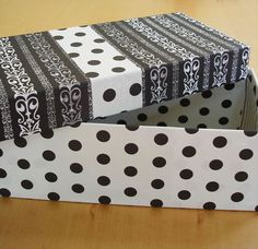 altered shoe box | shoe box, Scrapbook paper and modge podge transform a dull shoe box ...