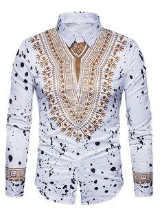Tbdress.com offers high quality Lapel Ethnic Linen Ethnic Printed Slim Men's Long Sleeve Shirt Men's Shirts unit price of $ 16.99.