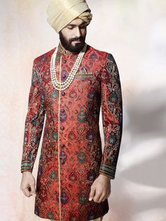 Shop Jamavar maroon indo western online from India. Sherwani For Men Wedding, Sherwani Groom, Mens Sherwani, Wedding Dress Men, Muslim Wedding Dresses, Wedding Suits, Trendy Wedding, Wedding Wear, Wedding Groom