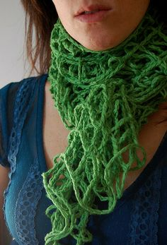 green crochet mesh scarf by LilibethsGarden, via Flickr