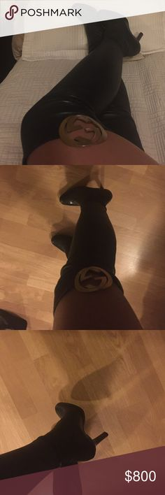 """Authentic  over knee Gucci boots Black  leather over knee Gucci boots, has Gucci symbol on sides. These boots make you feel """"ten feet tall"""". Gucci Shoes Over the Knee Boots"""