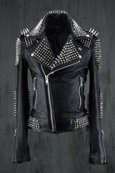 Men black rock jacket, Black studded jacket,Leather jacket with studs and spikes Studded Leather Jacket, Lambskin Leather, Leather Men, Black Leather, Cowhide Leather, Real Leather, Custom Leather Jackets, Riders Jacket, Jacket Men