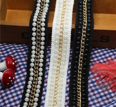 Gold/Black Metal Chain Trim,Golden Chain and Pearl Beaded Lace Trim diy accessories lace decoration clothes bags shoes