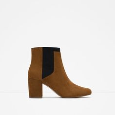 Image 1 of ELASTIC HIGH HEEL LEATHER ANKLE BOOTS from Zara