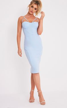 Carrie Dusty Blue Crepe Panel Midi Dress Image 1