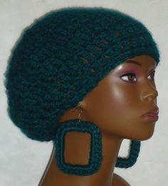 crochet beret tam and earrings by Razonda Lee Crochet Beret, Beautiful Collage, Red Green Yellow, Berets, Hair Photo, Ear Rings, Hair Art, Hair Today, Cut And Color