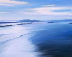 """""""View from Blanchard Mountain, seascape,oil on canvas,11x14,$400"""" - Original Fine Art for Sale - © Joy Olney"""