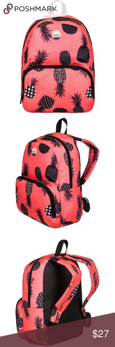 """NWT Roxy Always Core Small Backpack  All-over print One main compartment Front zipped pocket Padded & adjustable shoulder straps Handle Cotton logo patch. Size: 11.8"""" [H] x 9.4"""" [W] x 4"""" [D] / 30 [H] x 24 [W] x 10.5 [D] cm Volume: 8 L 100% polyester. Color: neon grapefruit pineapple Roxy Bags Backpacks"""