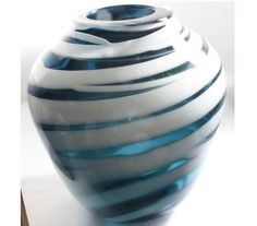 Small Transparent Blue Vase with Opaque White by ElliottGlassArt, $75.00