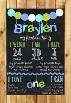 Blue & Green Birthday Chalkboard // Pom Pom Birthday Chalkboard Sign on Etsy