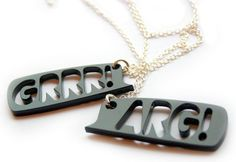 Grr and Arg Necklace set monster laser cut by finestimaginary, $20.00