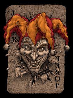 Oleg Gert Le Joker Batman, Joker Clown, Joker Art, Creepy Clown, Joker And Harley Quinn, Joker Playing Card, Playing Cards Art, Joker Drawings, Dark Art Drawings