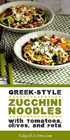 Greek-Style Zucchini Noodles with Tomatoes, Olives, and Feta, have all the flavors that make Greek Salad such a popular dish; use cherry tomatoes if you don't have garden tomatoes! Low Carb Recipes, Vegetarian Recipes, Cooking Recipes, Healthy Recipes, Clean Eating Snacks, Healthy Eating, Healthy Food, Salad Recipes Video, Pasta