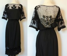 Vintage Mexican Floral Crochet Cut Out Dress with Exposed Back. $128.00, via Etsy.