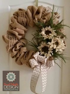 """24 """"Natural Burlap Wreath with White Sunflowers, Greenery, and White / Natural Chevron Bow – MADE TO OR – Products – Wreath – Burlap Burlap Wreath Tutorial, Diy Wreath, White Wreath, Burlap Chevron Wreath, Fall Burlap Wreaths, Deco Mesh Wreaths, Holiday Wreaths, How To Make Wreaths, How To Make Bows"""