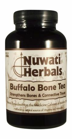 Nuwati Herbals Buffalo Bone Tea, 4 Ounces. With a light grassy flavor, this herbal tea helps to strengthen bones, connective tissues, hair, skin and nails.