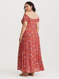 Orange pink floral off the shoulder flowy maxi dress
