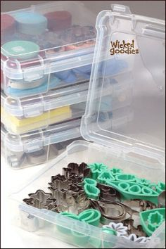 Scrapbooking containers keep all the cutters and silicone molds stacked and sorted: