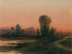 Walery Brochocki | <i>PEJZAŻ O ZACHODZIE, 1878</i> | olej, deska | 20.8 x 27 cm
