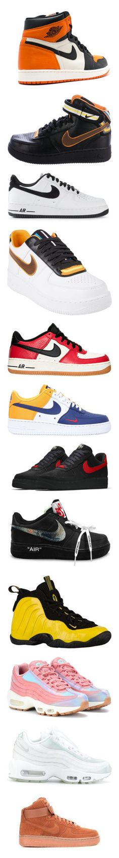 """""""NIKES"""" by rosavage01 on Polyvore featuring shoes, men's fashion, men's shoes, men's sneakers, black, mens velcro shoes, mens perforated shoes, nike mens shoes, mens multi colored shoes and mens black shoes"""