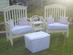 Baby crib turned benches
