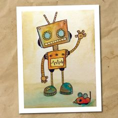 Robot Watercolor Print Note Card by KristenSobleDesign on Etsy