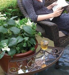 No room for a table on your patio?  The Ledge easily attaches to the rim of a pot. garden-ideas