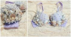 Should i ever decide to pick up burlesque!.. Mermaid Costume Bra Ornate Decorative Pink/Purple by ChloeBarcelou, $100.00