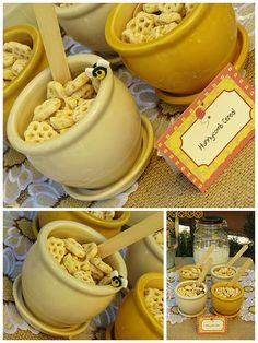 honeycomb cereal (nutrigrain would work here too fellow Australians!) in little clay pots for a teddy bear picnic party