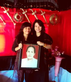 Our grandma's funeral at Tana Toraja. Look her photo that we touch, beauty like us, right? Haha
