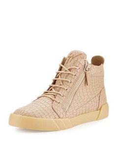 GIUSEPPE ZANOTTI Men'S Croc-Embossed Leather High-Top Sneaker. #giuseppezanotti #shoes #