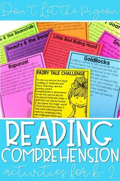 """Working on reading comprehension first grade and kindergarten? These reading comprehension activities focus on the read aloud """"Don't Let the Pigeon Drive the Bus"""" and include skills like retelling, comparing and more!"""