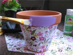 ... next time you have some magazines lying around, postcards, or almost pretty material, try your hand at these decoupage flower pots, which would also make great teacher gifts with a lovely plant! Description from petiteplanet.blogspot.com. I searched for this on bing.com/images