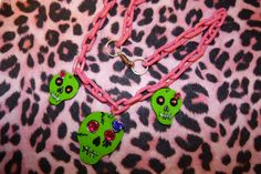 Zombie day of the dead skull necklace.