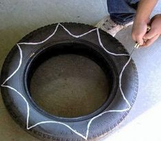 How to make a pot / planter. Diy Flower Shaped Planter From Old Tire - Step 2