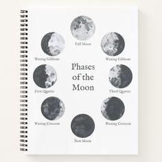 Moon Phases Notebook Night Sky Journal Custom office supplies #business #logo #branding