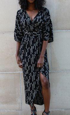 Stylized Feather Maxi Kimono Wrap Dress