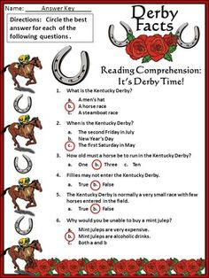 Kentucky Derby Activities: Derby Facts Activity Packet Bundle